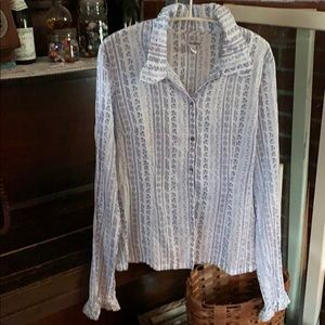 LUCKY BRAND fine 100% cotton long sleeve blouse